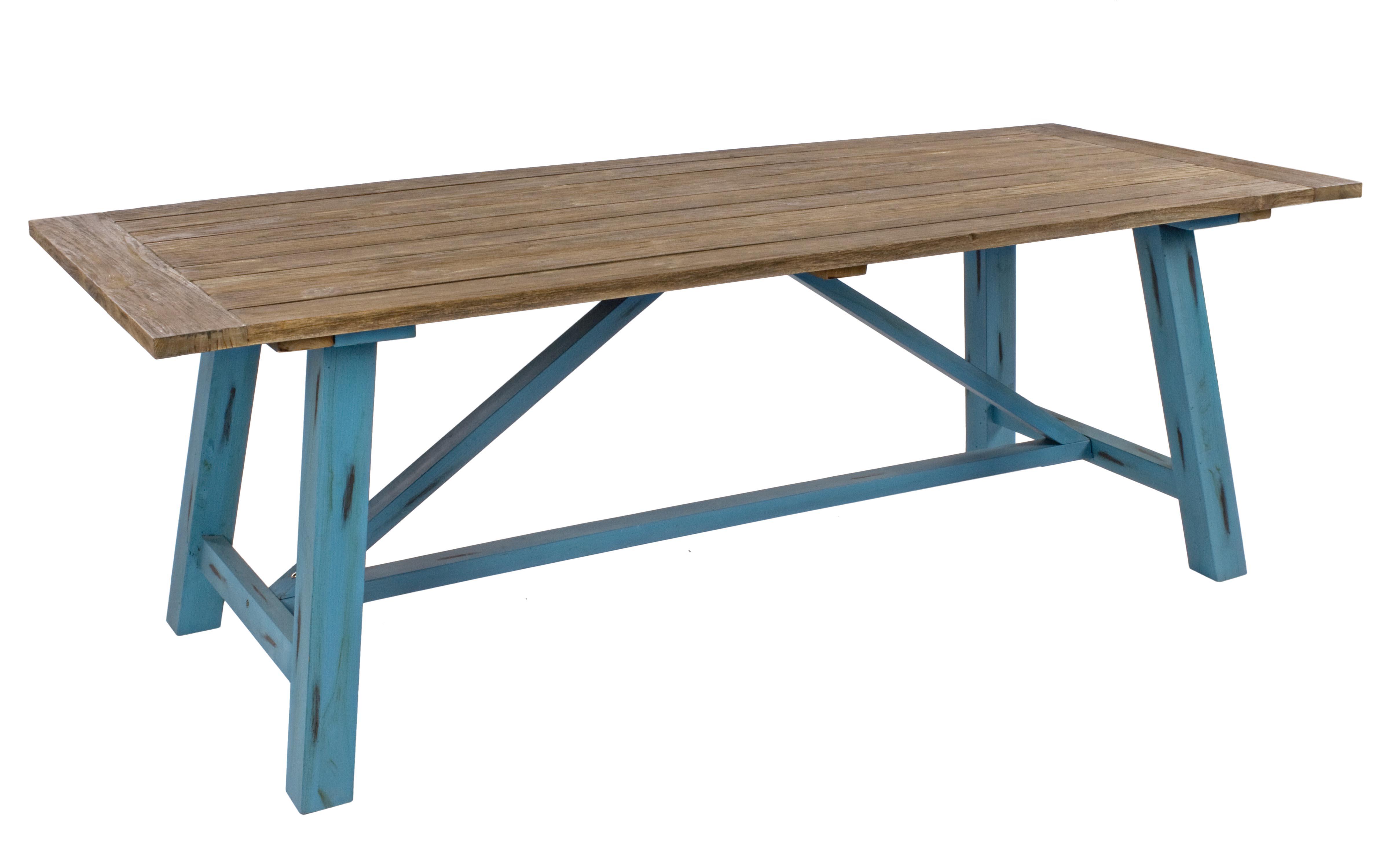 Juego comedor madera r stico pintura efecto envejecido for Mesas de salon de madera