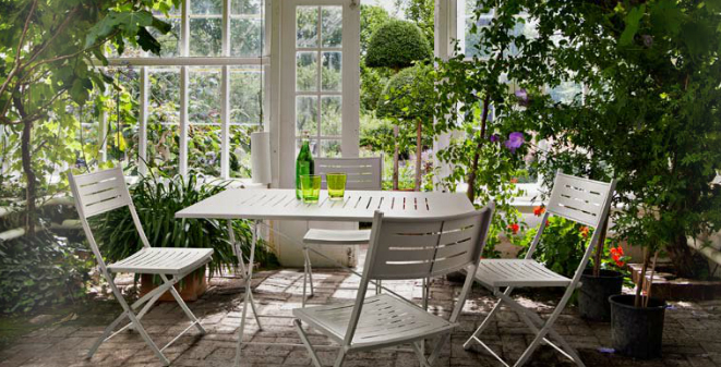 Comedor con estructura de hierro para jardín 6 - Mesa rectangular y cuadrada
