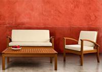 Set de salón madera de Eucalipto económico - Conjunto 4 piezas