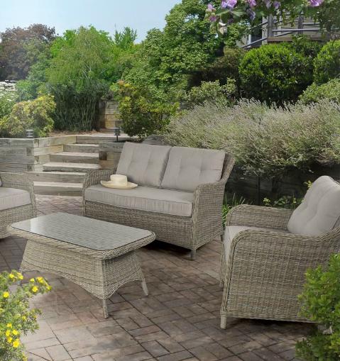 Sofá sillones y mesa centropara exteriores 4 - Estructura de aluminio tejido polirattan