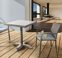 Mesita cuadrada cristal templado y silla para exteriores - Estructura de aluminio mesa rattan