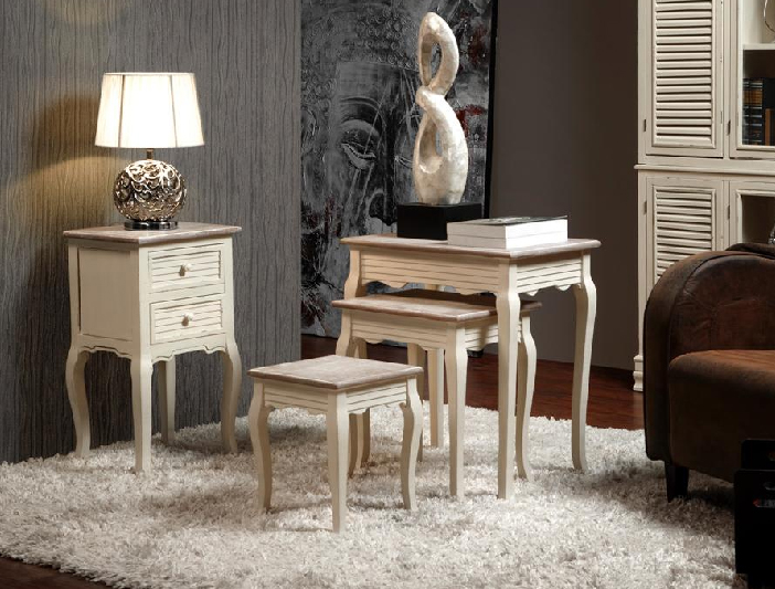 Mesa telefonera y mesas nido blanco roto barcelona for Mesas auxiliares clasicas