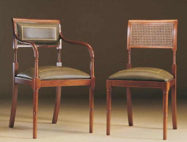 Silla y sill n cl sicos tapizados con respaldo rejilla for Modelos de sillas clasicas