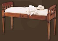 Banqueta de madera estilo rústico 2 - Asiento tapizado, patas redondas