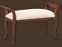 Banqueta de madera tapizada con reposa brazos - Disponible con patas redondas o torneadas, en dos tamaños