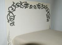 Cabecero de DM blanco plata - Cabecero DM blanco lacado con adorno de color plata