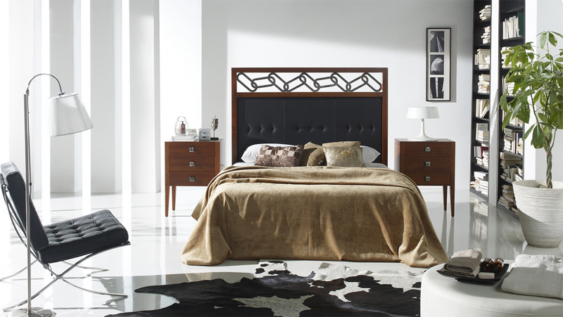 Cabecero piel y madera bilbao for Lamparas cabezal cama