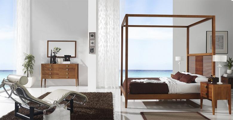 Cama con dosel de madera dormitorio bilbao - Cama dosel madera ...