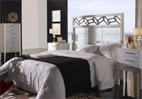 Cama cabecero madera SOM59 - Cabecero madera blanca con barrotes y forja con acabado decorado plata