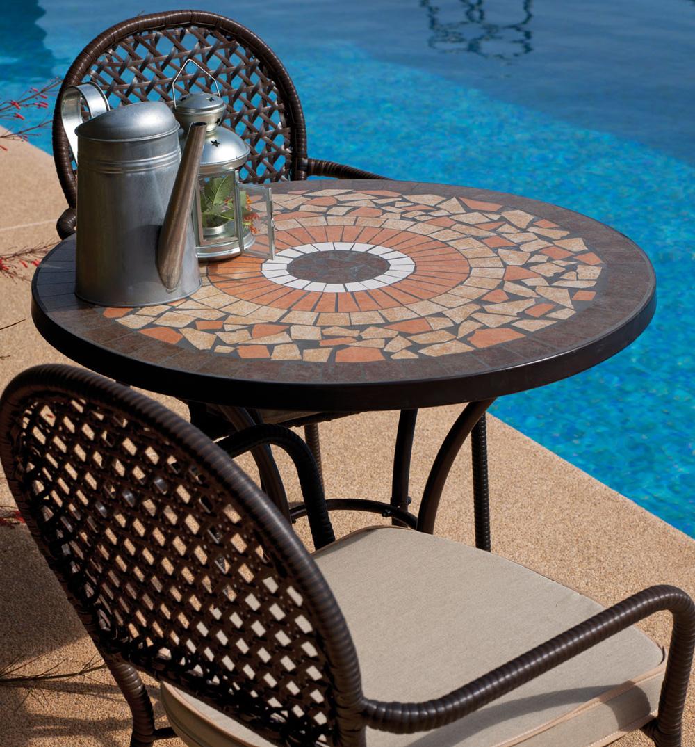Mesa mosaico acero patas forja barata exteriores logro o for Mesa mosaico jardin