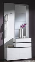 Recibidor-zapatero con espejo 2 - Recibidor-zapatero con elegante juego de espejos y dos perchas.