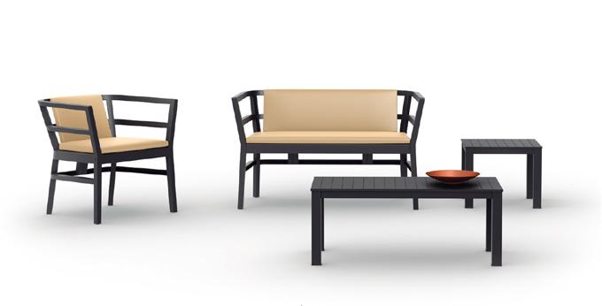 Piezas de conjunto exterior sofás sillón  - Conjunto de sofá de resina para exterior