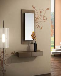 Consola y espejo de chapa de Roble 28
