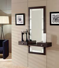 Consola y espejo de chapa Roble 20 - Consola y espejo integrados.