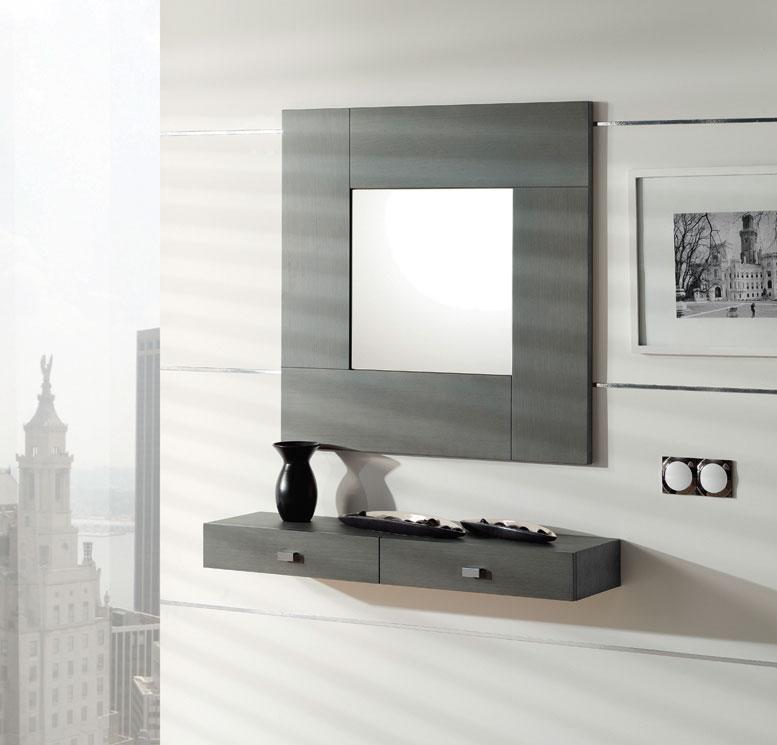 Consola y espejo de chapa Roble 26 - Consola y espejo de chapa de Roble