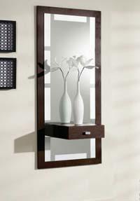 Consola y espejo de chapa Roble 22 - Consola y espejo integrados.