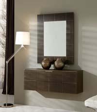 Consola y espejo de chapa de Roble 36 - Consola con cristal y espejo de chapa de Roble