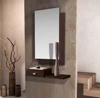 Consola y espejo de chapa de Roble 37 - Consola con cristal y espejo de chapa de Roble
