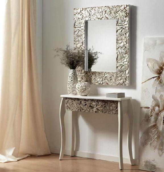Espejo y consola blanco decapado plata miahome for Espejos de pared vintage