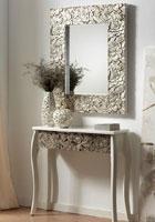 Consola blanco decapado-plata y/o espejo - Consola decapada color blanco - plata  y / o espejo