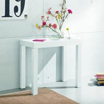 Consola convertible en mesa con tres extensiones - Estructura en madera maciza massello y tablero en melamina