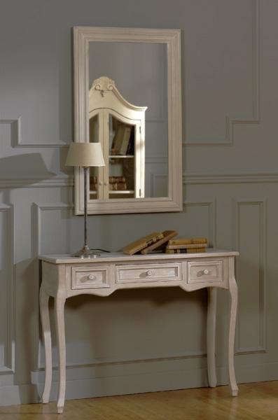 Recibidor y espejo de madera - Marco de madera con luna. Mueble fabricado en tablero de fibra de densidad media.