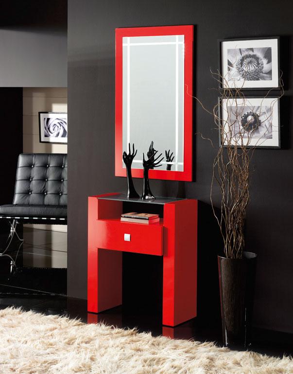 Consola  y espejos de chapa Roble 18 - Consola tablero cristal ácido y espejos.
