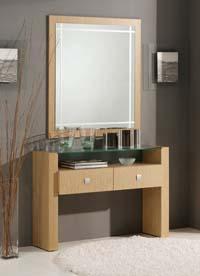 Consola y espejos madera Roble 3 - Consola y espejo de chapa de Roble
