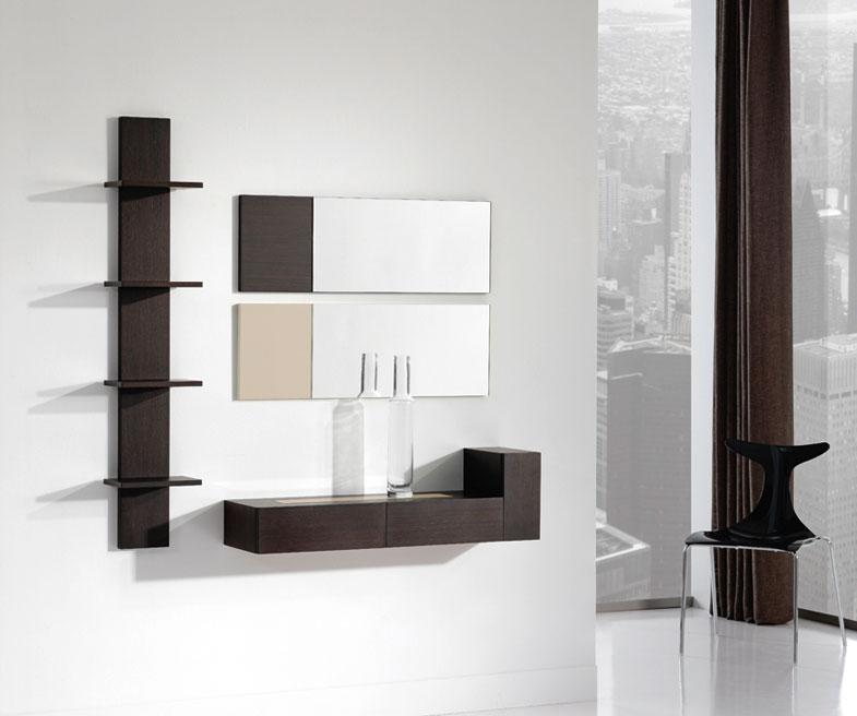 Consola, espejos y estantería 33 - Consola, espejos y estantería. Chapa de Roble