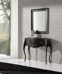 Consola y espejo madera Haya - Consola y espejo de chapa de Haya
