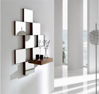 Consola de cajón con espejos  - Consola de cajón con espejos cuadrados. Acabados lacados en blanco, negro y gris y en madera de nogal