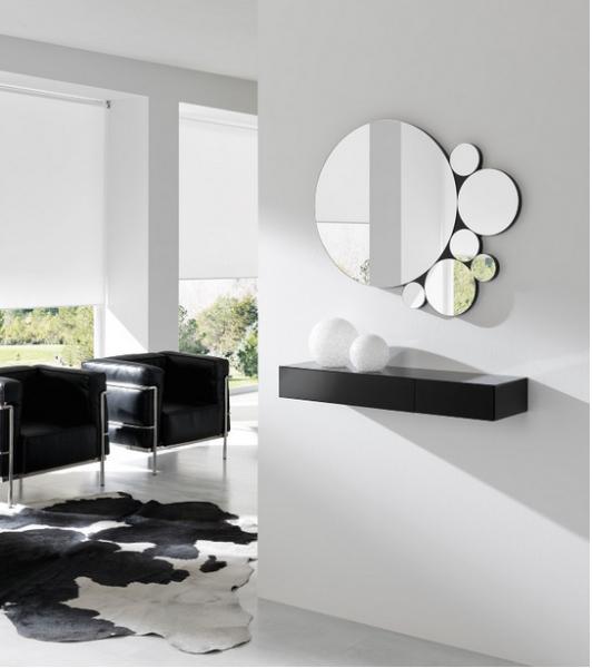 Consola con espejos - Consola con cajones y espejos circulares
