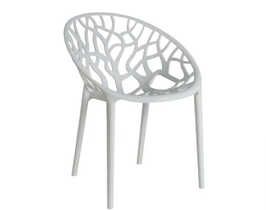 Silla Coral Transparente o blanca - Silla apilable de diseño ahuecado Transparente o blanca