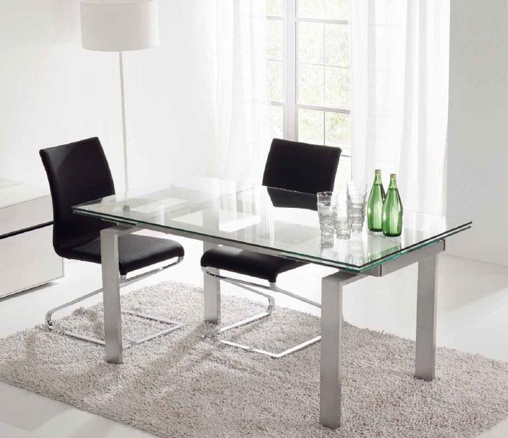 Mesa de cristal transparente extensible - Mesa comedor redonda cristal ...