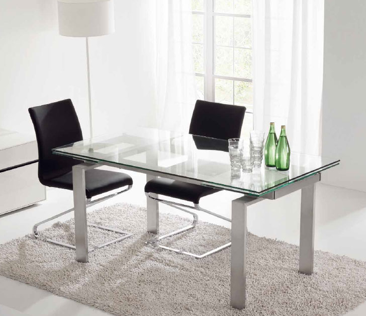 mesa de cristal transparente extensible