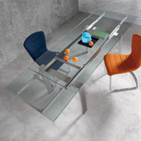 Mesa cristal transparente extensible - Mesa de cristal transparente extensible