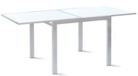Mesa extensible cristal templado - Estructura metálica color gris plata