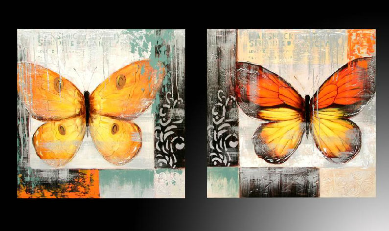 Mariposas cuadros decoraci n naranjas amarillos for Cuadros abstractos con marco