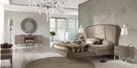 Juego de dormitorio Suite Rosario - Dormitorio lacado con cabezal curvo tapizado en tela cliente Mod. ROSARIO