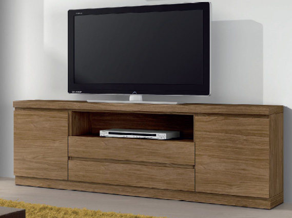 Mesa baja tv moderna nogal natural valencia for Muebles bajos para tv