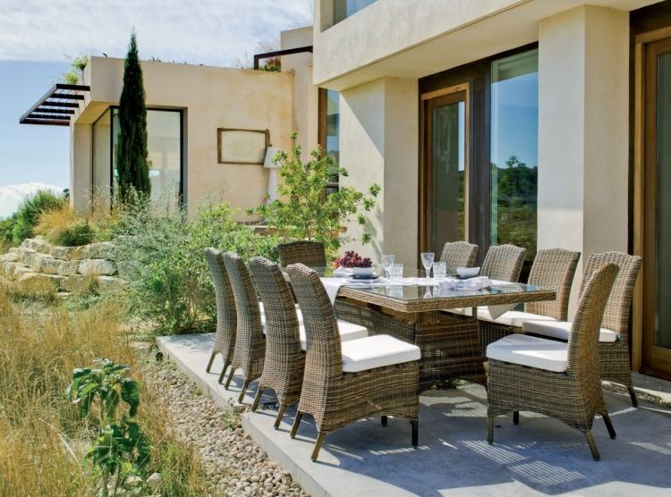Conjunto de mesa con sillas - Conjunto de comedor para exterior con sillones. Los precios se muestran individualmente