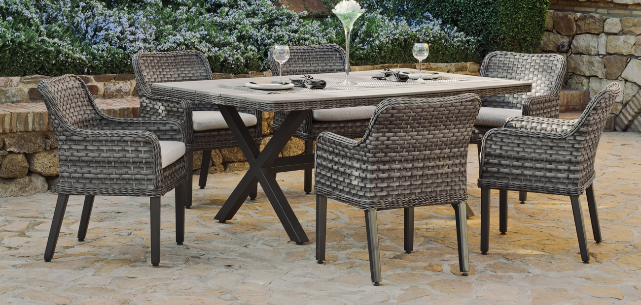 Set de comedor de rattan exterior Dominique 190