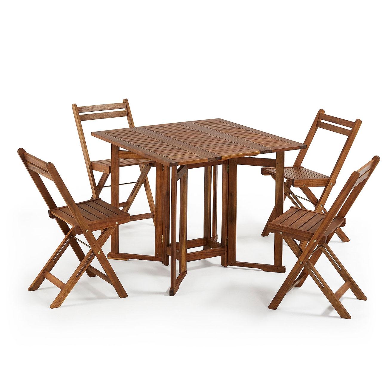 mesa abatible con sillas plegables