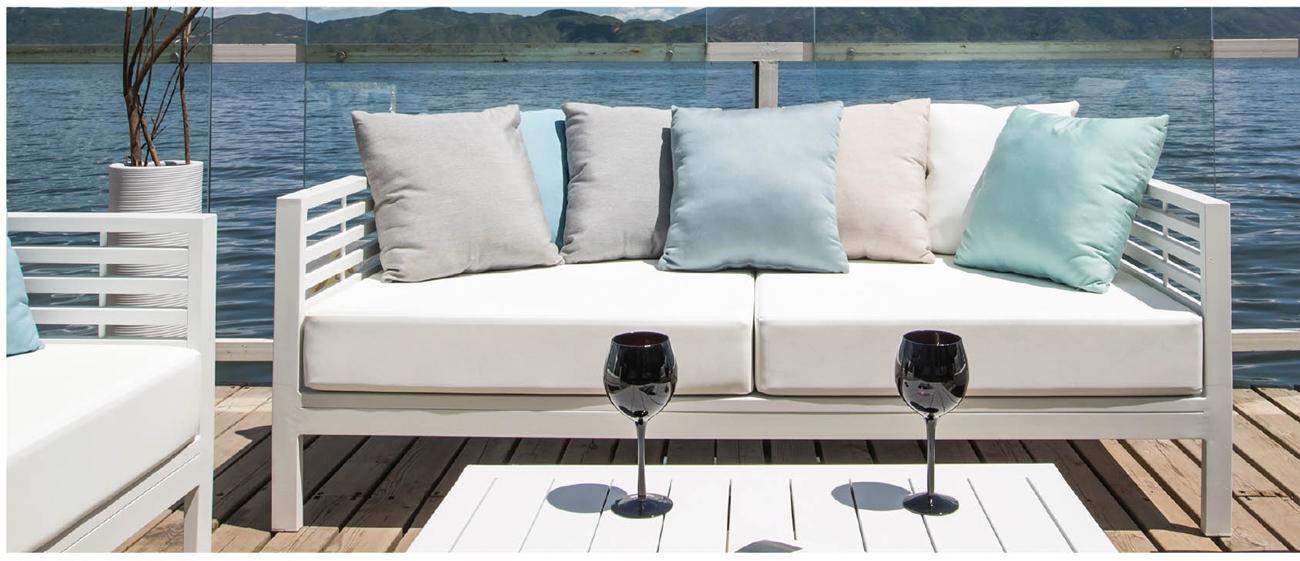 mia home Set de aluminio sofá para exterior Amalfi