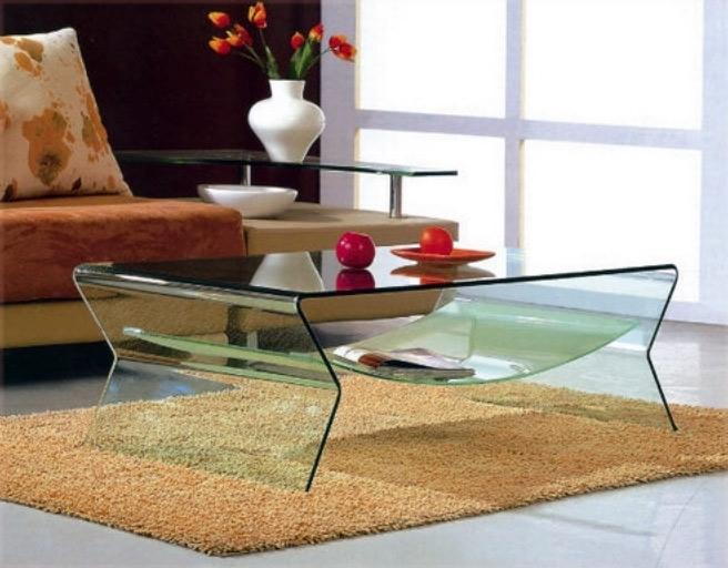 Mesa de cristal transparente 1 pieza for Mesa cristal moderna