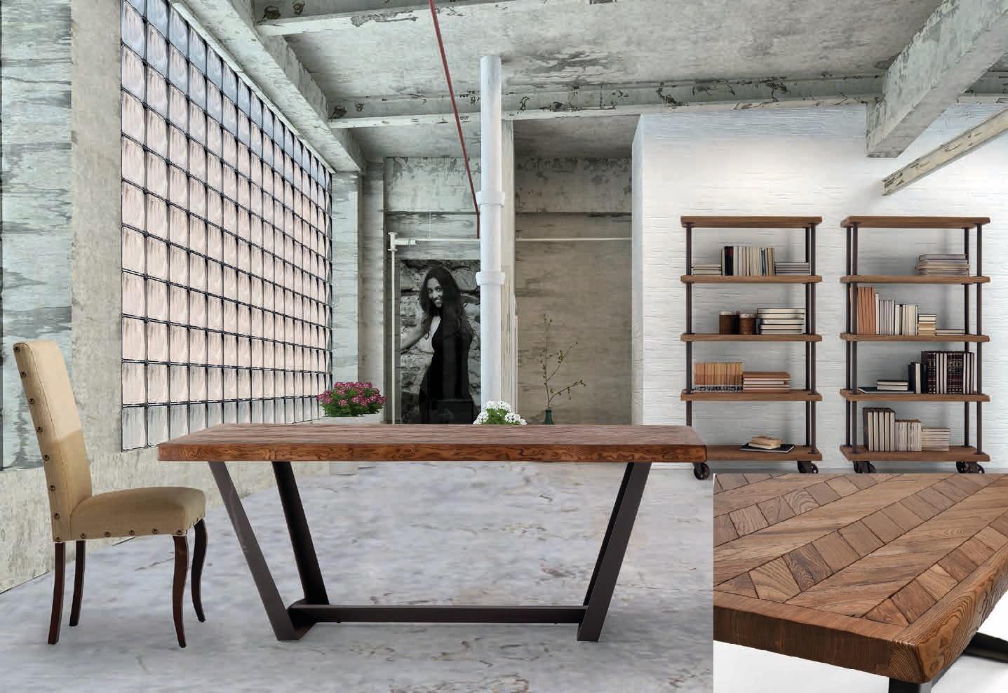 Mesa de comedor en madera de fresno reciclado y patas de metal