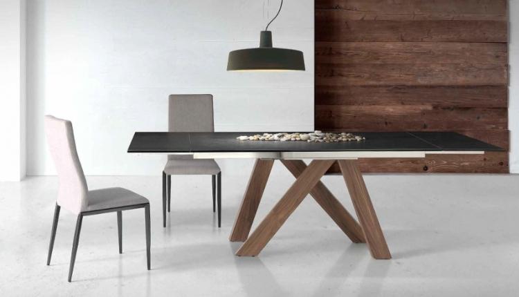 Mesa extensible con cristal transparente o persol - Mesa de comedor extensible