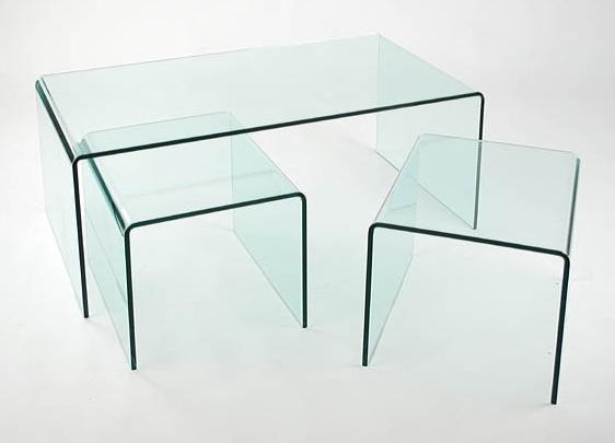 Grupo de mesas de cristal transparente - Juego de 3 mesas