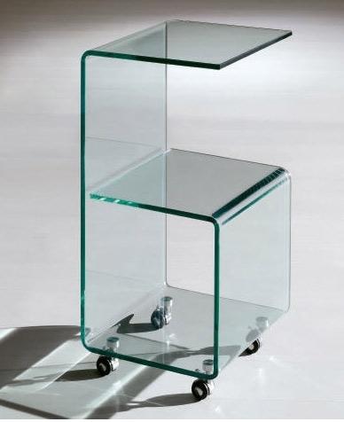 Mesa auxiliar de cristal con ruedas - Mesa auxiliar de cristal con ruedas