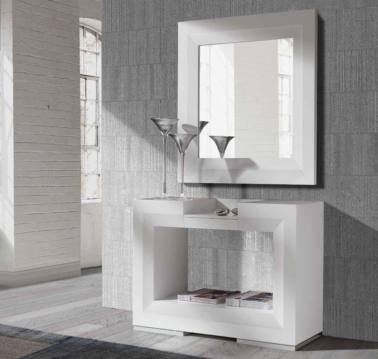 blanco o negro brillo consola o espejo twin consola o espejo twin moderna y elegante consola con espejo